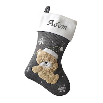 Personalised Luxury Dark Silver Knitted Baby Teddy Stocking