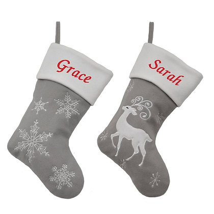 Personalised Luxury White and Silver Stocking