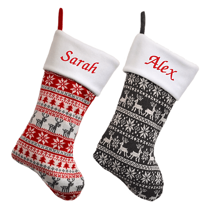 Personalised Nordic Knitted Stocking