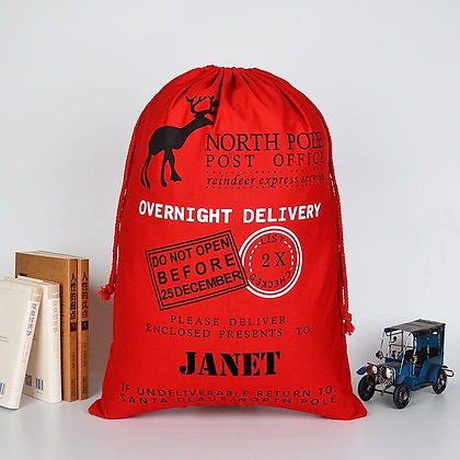 Personalised Red Overnight Delivery sack