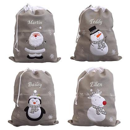Personalised Luxury Deluxe Silver Santa sack