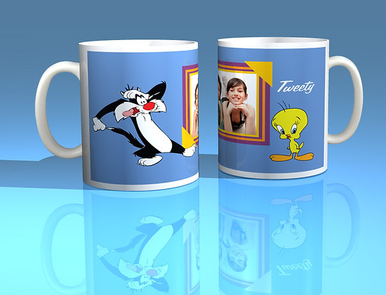 Sylvester and Tweety Pie Personalised Photo Mug