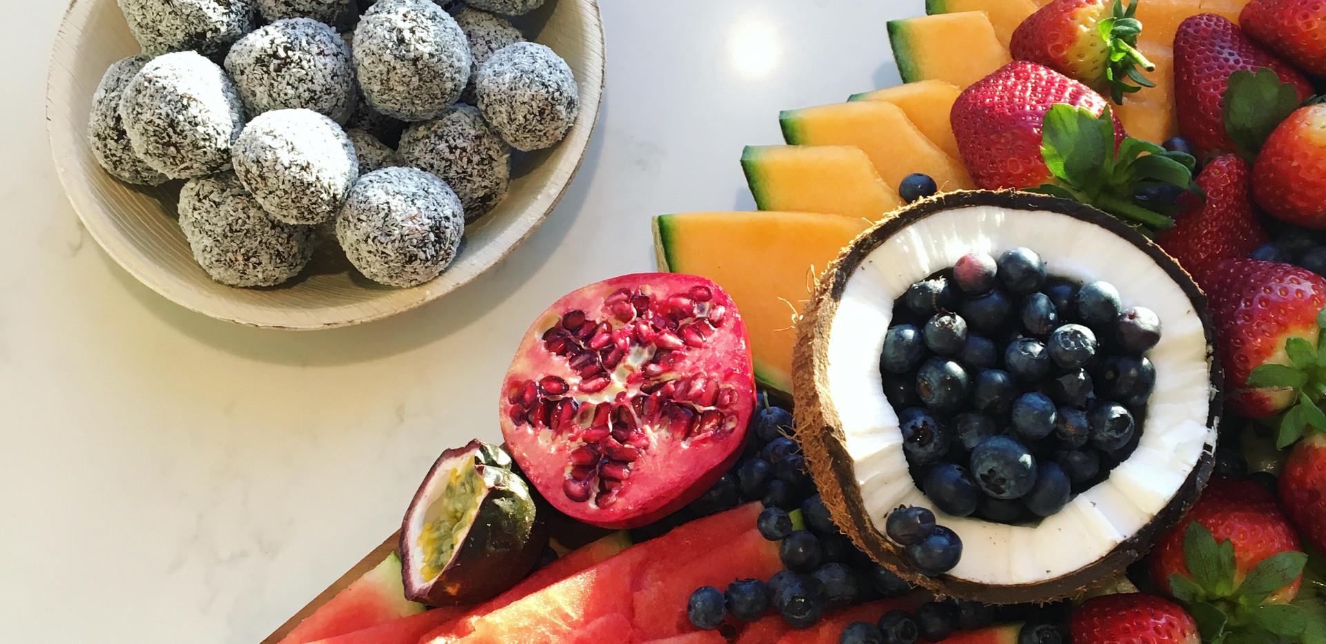 Fruit platter with Raw Bliss Balls