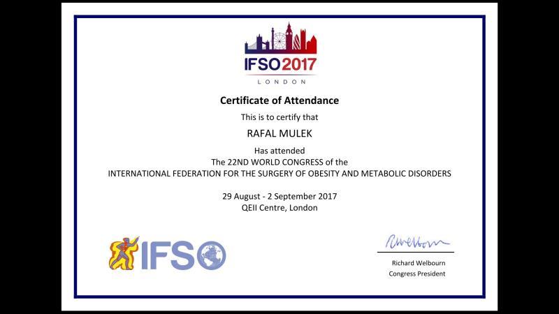 Certyfikat IFSO London 2017