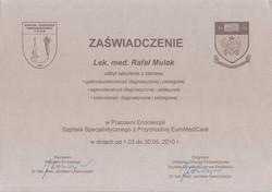 Certyfikat endoskopii zabiegowej