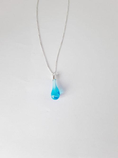 Colgante de lágrima transparente Azul Cielo de plata