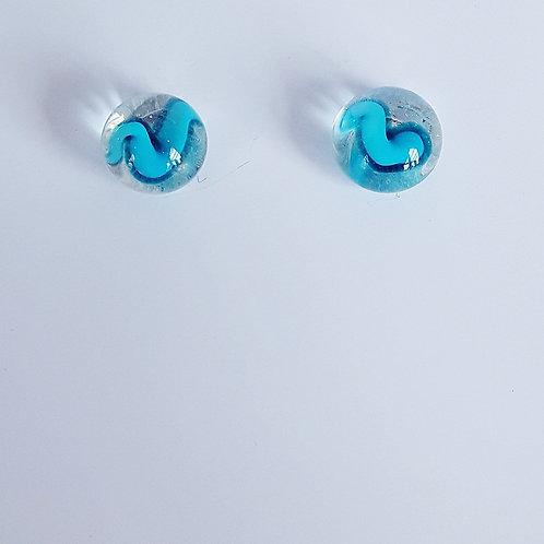 Botones de Murano Azul Filigrana