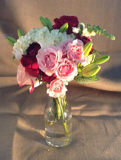 Bouquet in Milk Bottle Vase