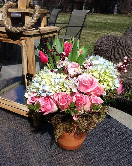 Light Blue Hydrangea and Pink Rose Arrangement