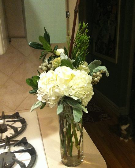 White Hydrangea Tall Vase
