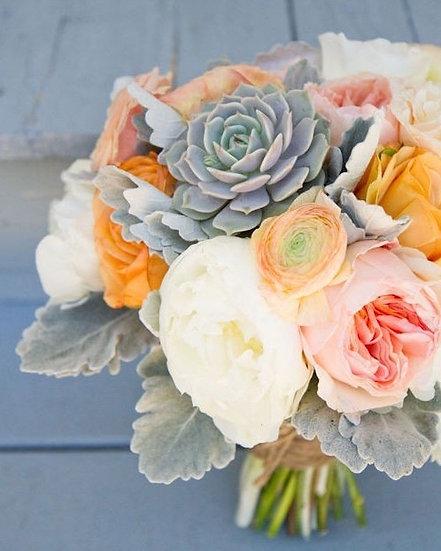 Succulent and Garden Roses Bouquet