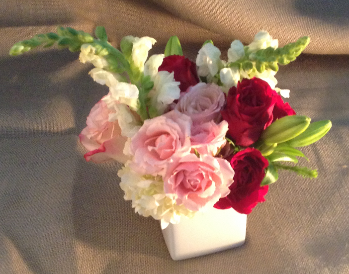 Bouquet in White Square Vase