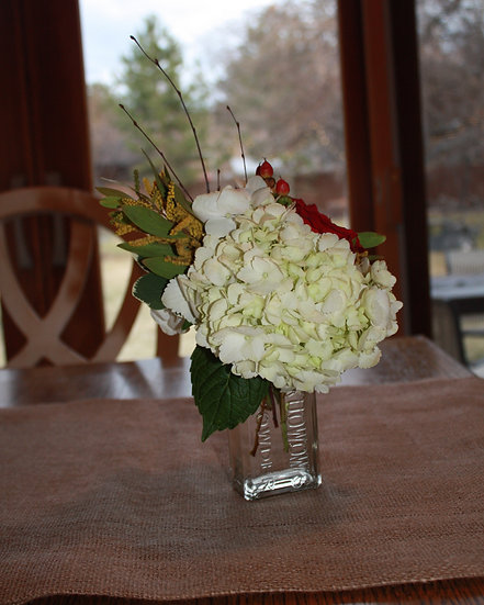 Hydrangeas and Roses Arrangements Glass Vases