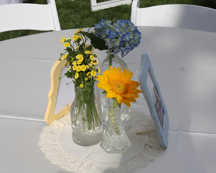 Hydrangea, Sunflower, Yellow Buttons in 3 Vases