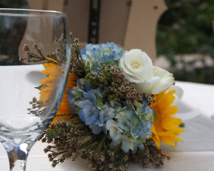 Hydrangea and Sunflower Table Bouquet