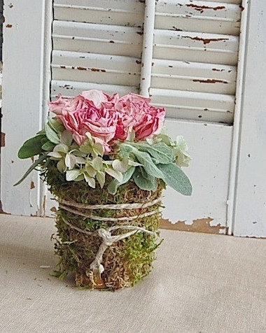 Moss wrapped Peonies