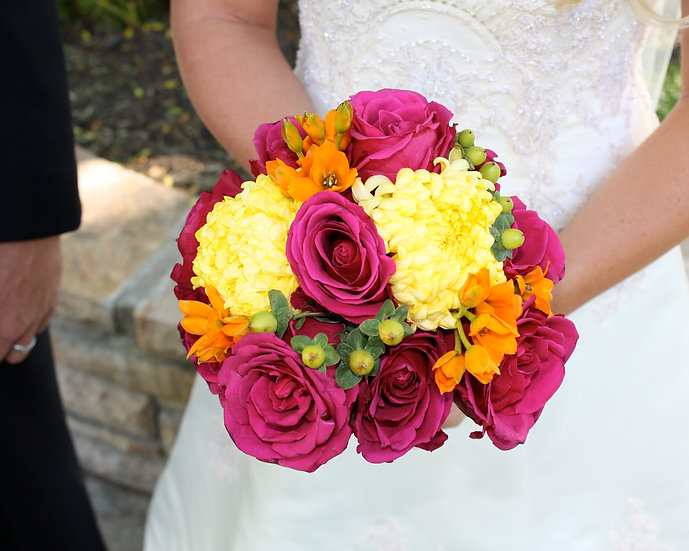Maroon and Yellow Roses Bouquet