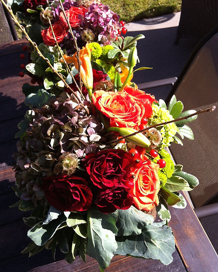 Dark Orange and Red Roses Arrangement