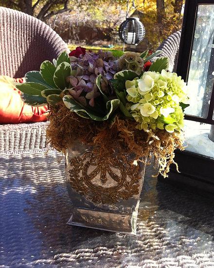 White Hydrangea and Purple Tulip Arrangement