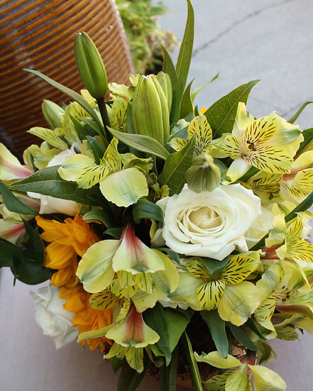 Sunflower and White Rose Arrangement