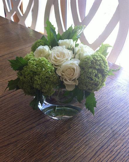 White Rose and Green Hydrangea Arrangement