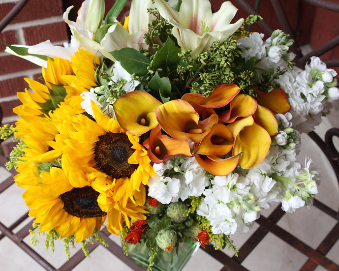 Sunflower, Calla Lily Arrangement