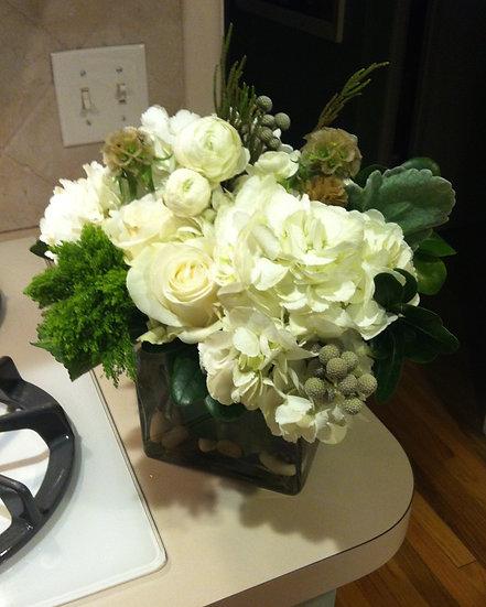 White Rose Arrangement Square Vase