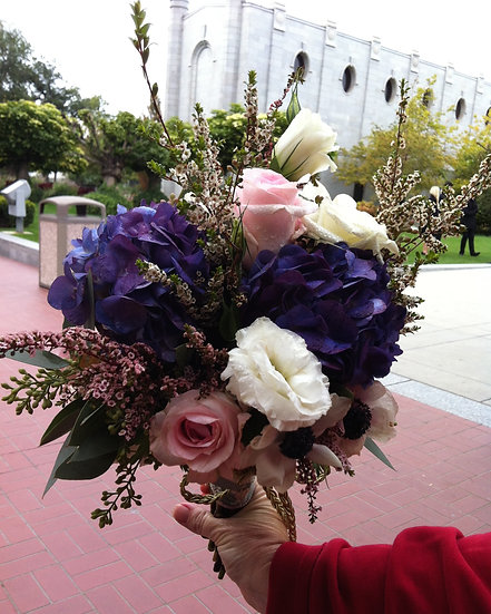 Pink, White Roses and Purple Hydrangea