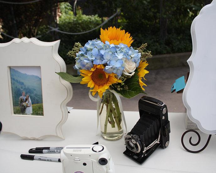 Sunflower and Blue Hydrangea Arrangement