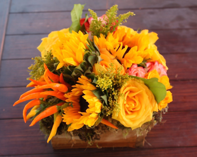 Sunflower and Yellow Rose Arrangement