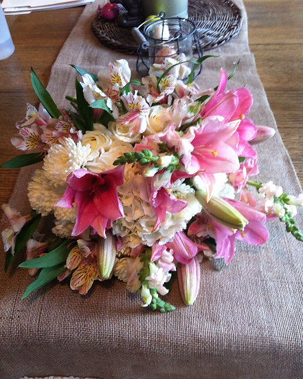 Pink Lily and White Mum Arrangement