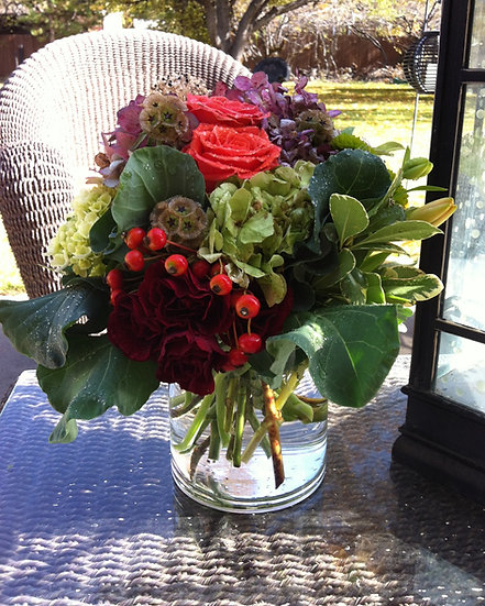 Red Rose and Berry Arrangement