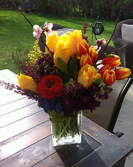 Orange and Yellow Tulip Arrangement