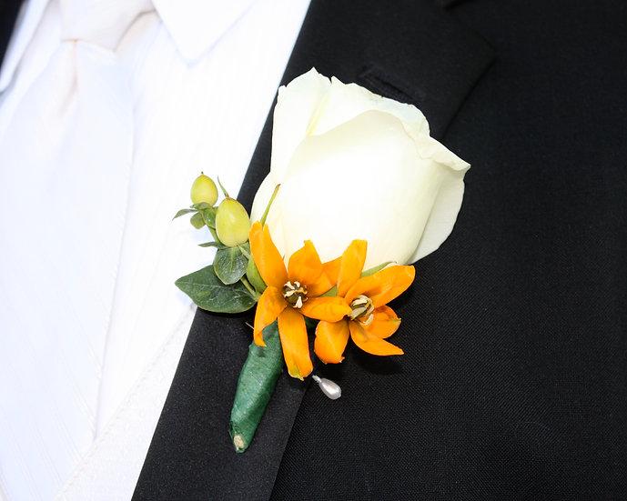 White Rose and Orange Freesia