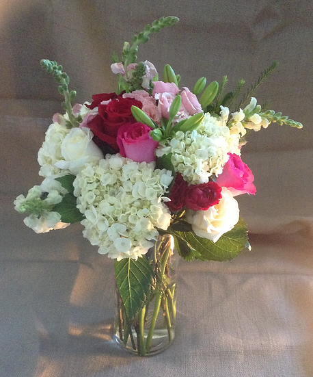 Large Bouquet in Glass Vase
