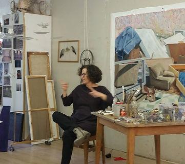 Dvora Morag, artist in her studio in Tel Aviv