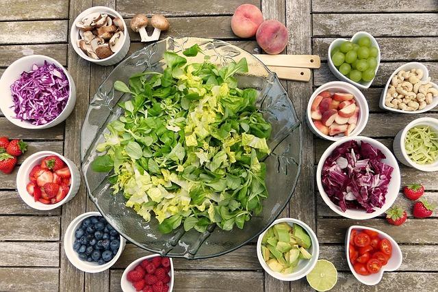 salad, fruit, raw vegetables