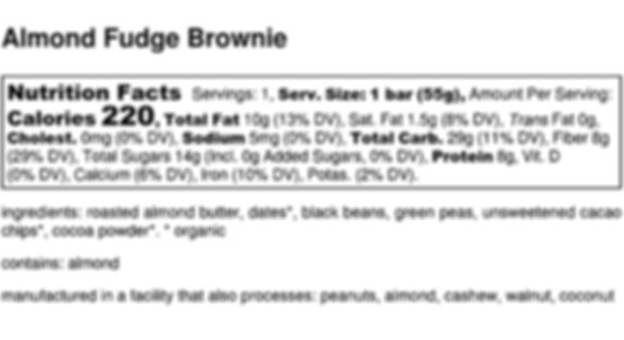 Almond Fudge Brownie - Nutrition Label.j