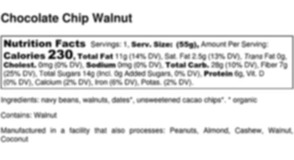 Chocolate Chip Walnut - Nutrition Label.