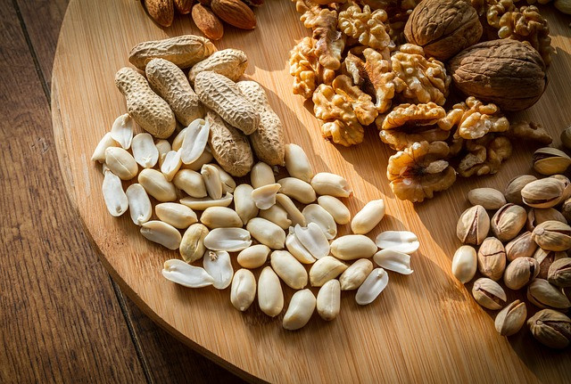 peanuts, walnuts, pistachios, almonds