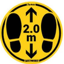 Waarschuwingssticker Vloer (Vlak) - 2m afstand