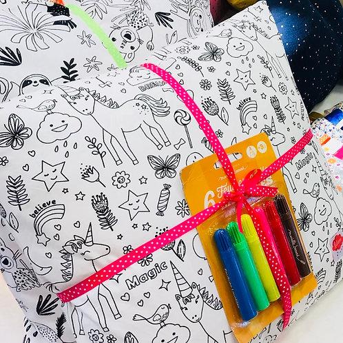 Coussin à colorier + feutres lavables