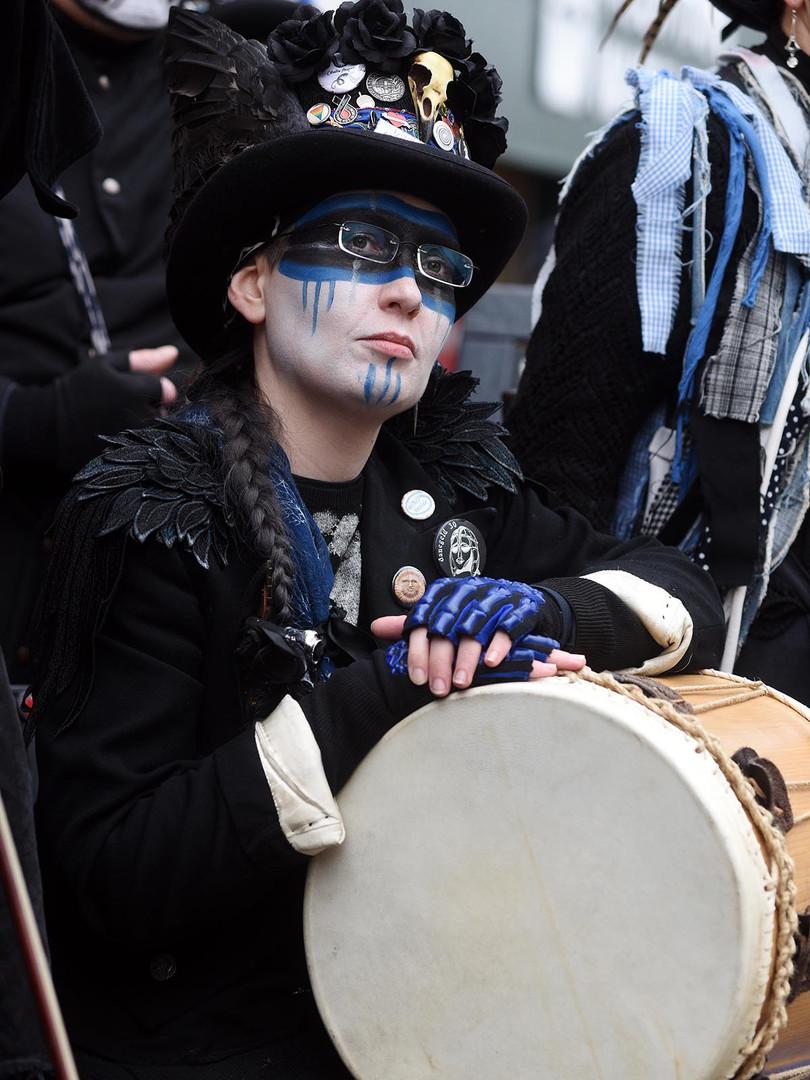 Blue drummer