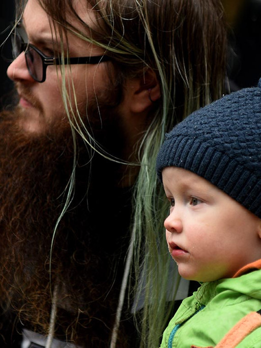 Bearded man and child
