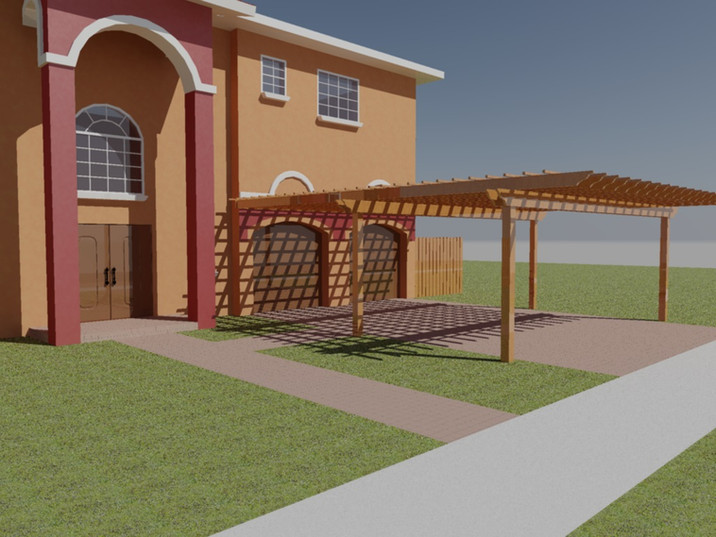 Front yard wood carport