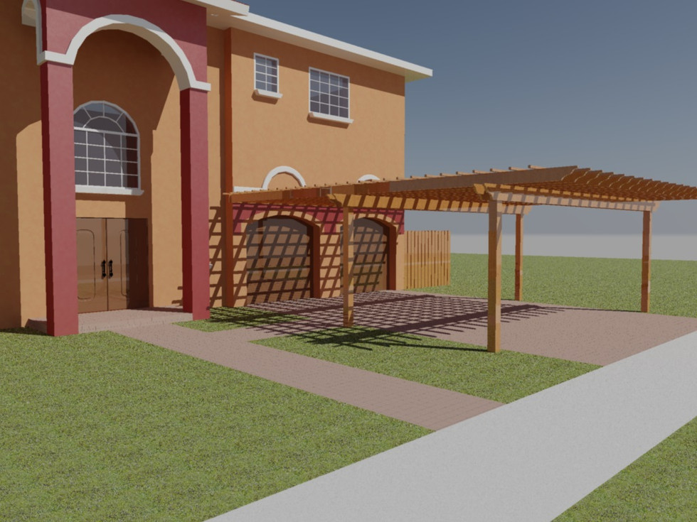 Front yard wood carport