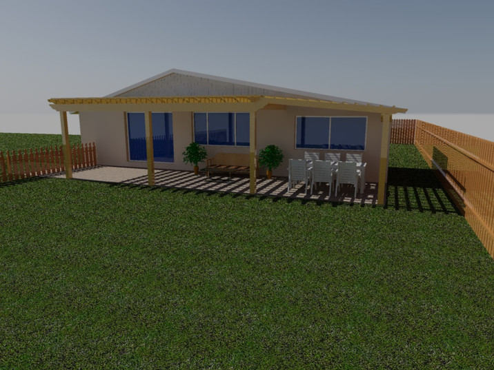 3D design of rear yard pergola