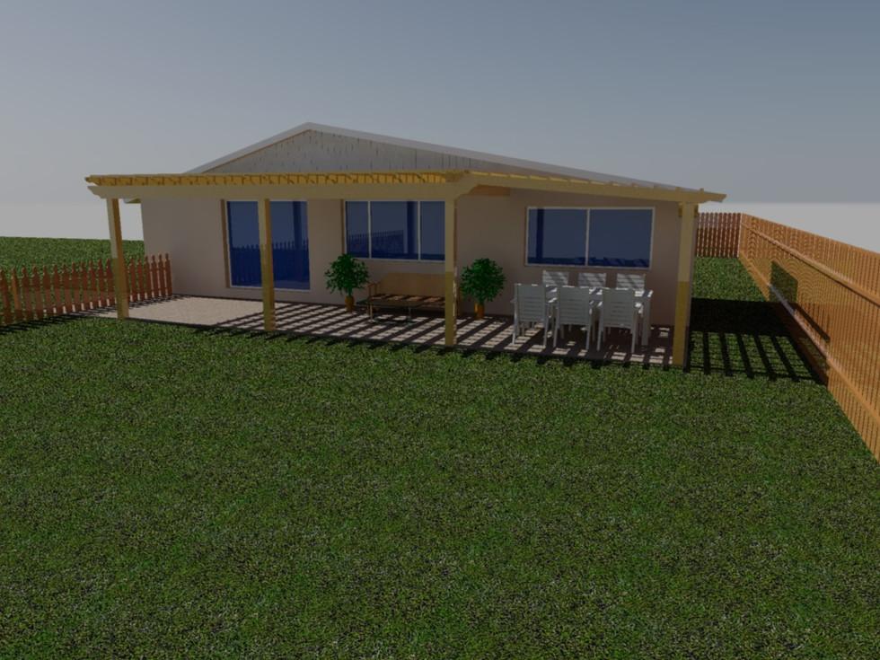 3D design of rear yard pergola
