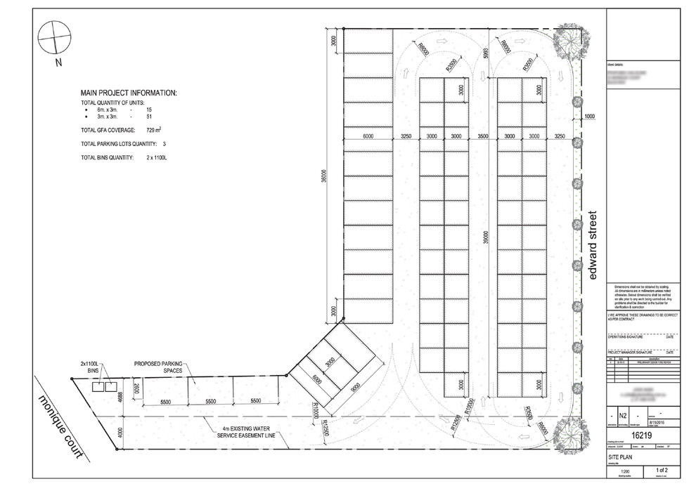 Site plan for storage units