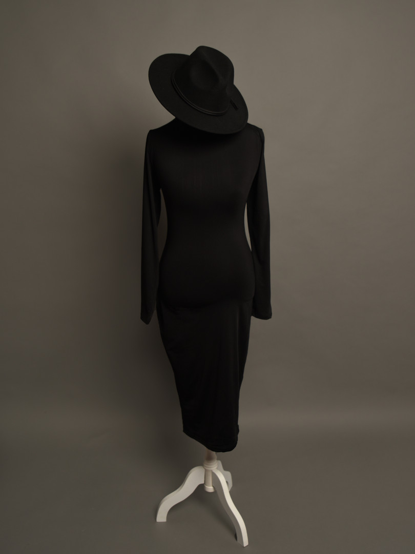 Paris Gown Black sz Sm-Med paired with fedora hat